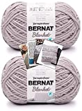 Bernat Blanket Yarn - Big Ball (10.5 oz) - 2 Pack with Pattern Cards in Color (Seagull Grey)