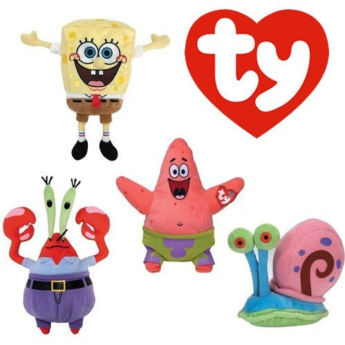 TY Beanie Babies Set of 4- Sponge Bob Square Pants and Patrick Star, Mr. Krabs, and Gary the Snail