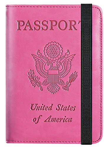 Passport Holder Cover Wallet RFID Blocking Leather Card Case Travel Document Organizer (Pink)