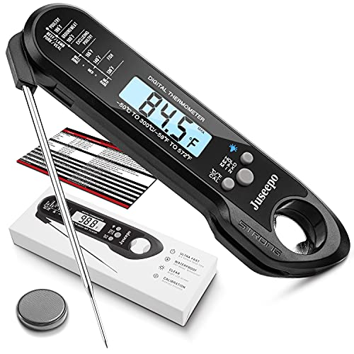 Juseepo Instant Read Waterproof Meat Thermometer - 2s Instant Read Ultra Fast Cooking Thermometer with Backlight & Calibration.Best Kitchen Food Thermometer for Cooking, Outdoor Grill and BBQ(Black)