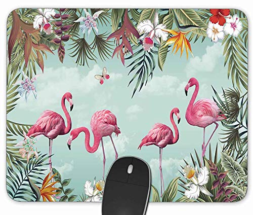 Tropical Leaves and Flamingo Gaming Mouse Pad, Rectangle Mouse Pad Size(9.84'x7.87')