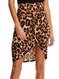 SheIn Women's Casual Split Warp Asymmetrical Elastic High Waist Mini Short Skirt Medium Leopard