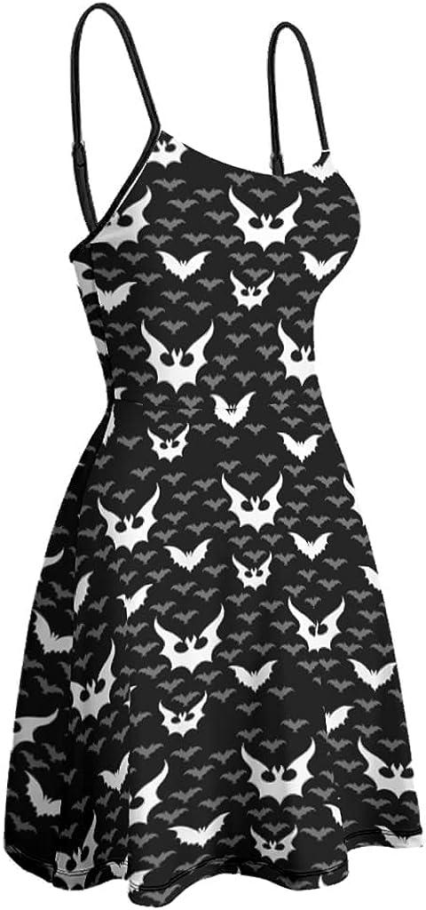 Bhqcflkwpz Womens Dress Halloween Bats Slip Dress Adjustable Sun