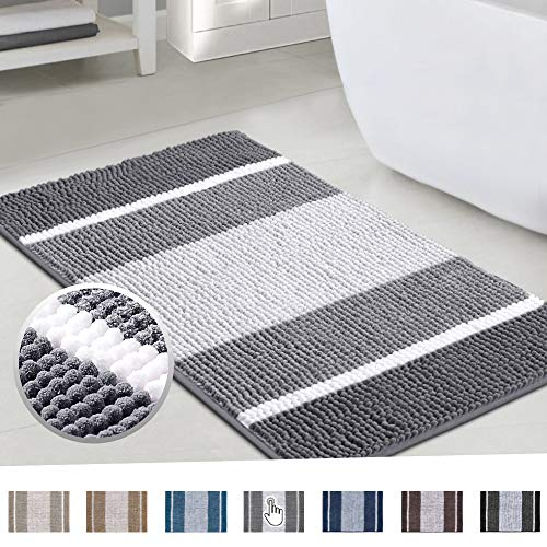 Super Cozy Chenille Microfiber Bathmat, Gradient Grey Stripe Pattern Soft Chenille Shaggy Rug for Bathroom, Slip-Resistant Absorbent Bathroom Floor Mat Machine Washable, 24x36 inch