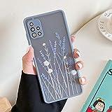 ZTOFERA Hülle für Samsung A51, Durchscheinend Liquid Silikon Hülle mit Blume Design, Weich Flexibel Anti-Kratzer Schutzhülle für Samsung Galaxy A51 - Lila