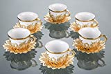 Luxury Turkish Porcelain Coffee Cups Set of 6 and Saucers - 4 oz. - Gold Espresso Cups Set, Greek Coffee, Demitasse Gift Coffee Cup For Women, Men, Adults, Housewarming, New Home Wedding Gifts (White)