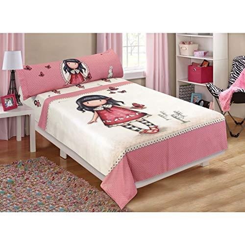 Halantex Santoro - Juego de cama para niña y mariposas, Hoja 180 x 270 cm, funda de almohada de 45 x 125 cm, protector de colchón 105 x 200 cm, 100% algodón, multicolor