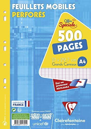 Clairefontaine 11791C Packung mit 250 Blatt Ringbucheinlagen, gelocht, französische Lineatur, DIN A4, 1 Pack, Weiß