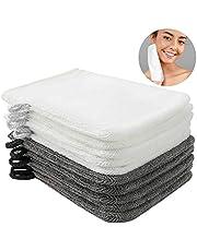 Phogary Paquete de 10 Piezas de Manoplas de baño Guantes para lavarse tamaño 16x21 cm Colgador de cordón algodón Premium de Color Gris Antracita y blanco