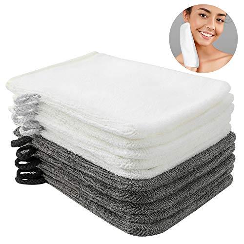 PHOGARY 10er Pack Waschlappen Waschhandschuh Seiftuch Abschminkhandschuhe mikrofaser 15 x 20 cm, dunkelgrau und weiß