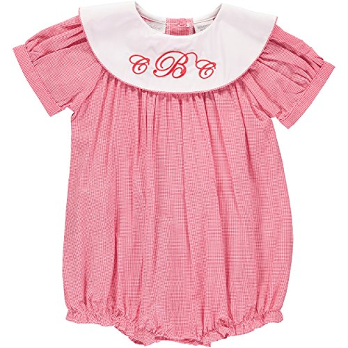 Carriage Boutique Baby Girls Bubble Light Red Monogram Short Romper, 6M