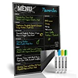 Magnetic Menu Board for Kitchen Fridge with Bright Chalk Markers - 17X12' - Dry Erase Weekly Meal Planner and Grocery List Notepad for Refrigerator - Perfect Chalkboard Magnet Pad