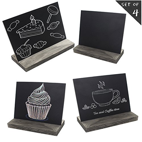 5 X 6 Inch Mini Tabletop Chalkboard Signs with Rustic Style Wood Base Stands, Set of 4?Include 3 chalks