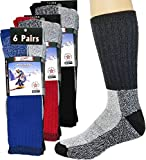 Mens Thermal Socks Heavy Extreme Cold Weather Boot Socks 6-pack By DEBRA WEITZNER, Assorted B, 10-15
