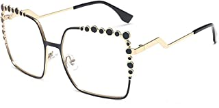 Stylish Glasses Women's Sunglasses Oversized Square Sunglasses for Metal Frame Rimmed Sunglasses Big UV Protection Classic Lady's Sunglasses Clothing Accessories (Color : Clear)