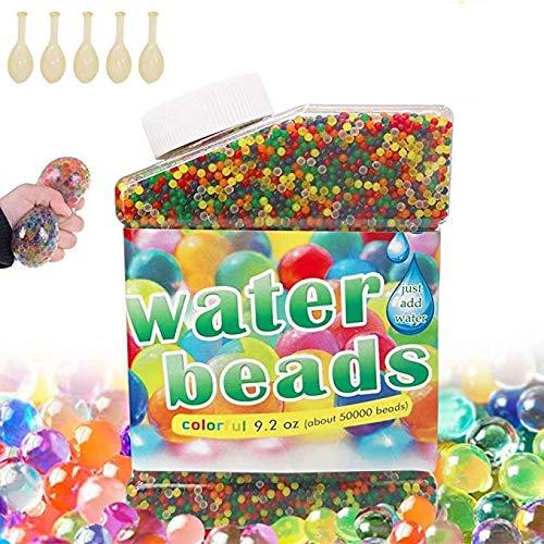 50,000 PCS Bolas De Gel De Agua Colores .Perlas de Gel para decoración .Flores.Plantas.Mezclados cristalino Hidrogel Bolas (5 Globos Adicionales Incluidos)