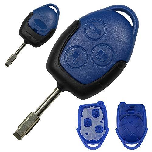 Ford Schlüsselgehäuse Funk Fernbedienung Ersatz Gehäuse Blau Connect Transit Tourneo Mondeo Tibbe Rohling Autoschlüssel Schlüsselrohling 3 Tasten NEU