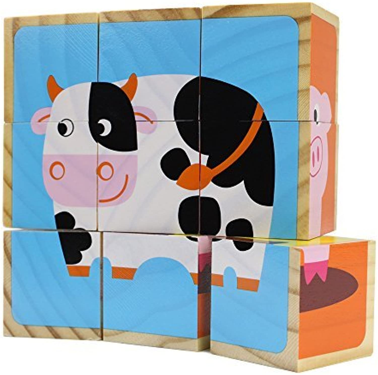 Professor Poplar's Barnyard Animals Stacking Puzzle Blocks, 9 Pieces by Imagination Generation