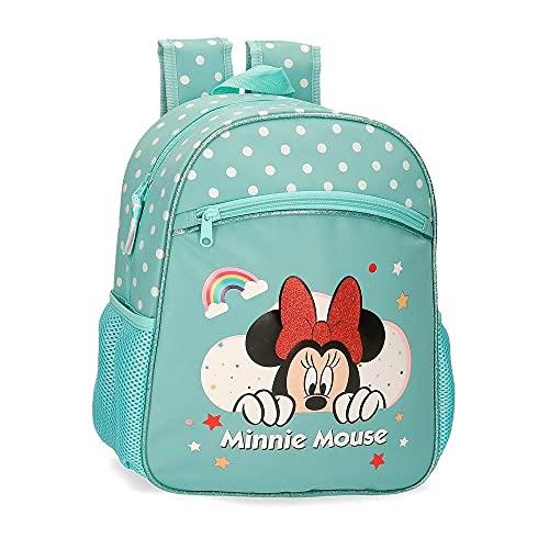Disney Minnie Rainbow Mochila Escolar Adaptable a Carro Verde 27x33x11 cms Poliéster 9,8L