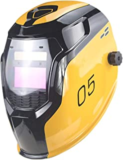 EUGNN Solar Powered Auto Darkening Welding Helmet,Solar Power Automatic Changing Light Shockproof Safe Helmet Large View for Weld