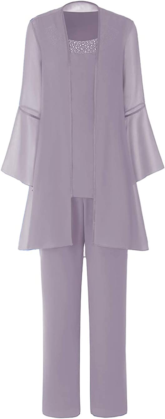 Mother of The Bride Dress Pantsuit Ruffles Sleeves Beads Top 3 Pieces Chiffon Jumpsuit