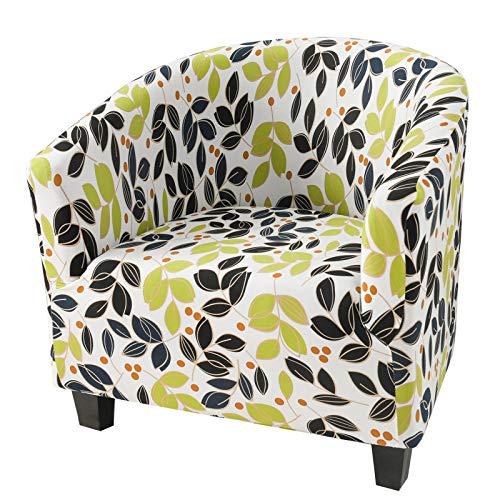 XDKS Fundas elásticas para sillón, fundas para sillón, fundas elásticas a prueba de polvo, funda protectora universal para silla de baño, decoración para sala de estar, comedor (hojas de flores)