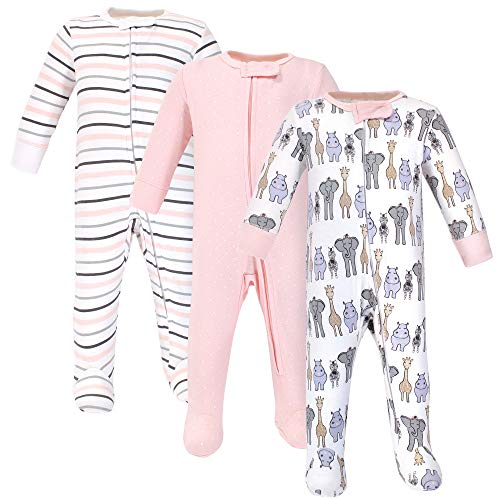 Hudson Baby Unisex Baby Cotton Sleep and Play, Pink Safari, 3-6 Months