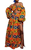 WSIRMET Women 2 Piece Outfits Sexy Dress African Floral Print Long Sleeve Tube Crop Tops and Side High Split Maxi Skirt Sets