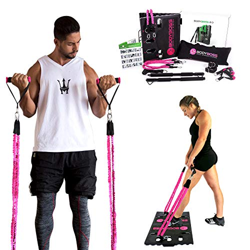 BodyBoss 2.0 - Full Portable Home Gym Workout Package + Resistance Bands - Collapsible Resistance Bar, PKG4-PINK (Pink - Full Gym + Extra Bands)
