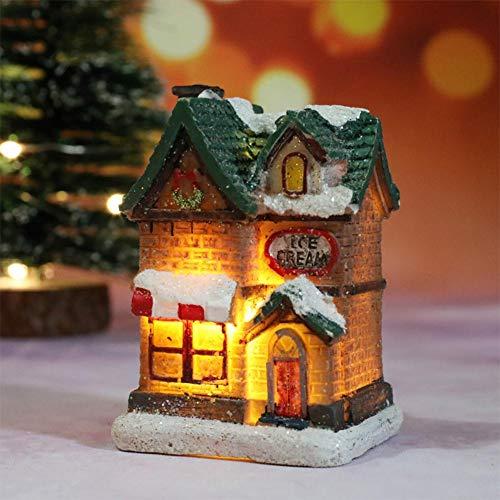 2020 3 Figuras de Casas de Navidad de Estilo duraderas con luz...