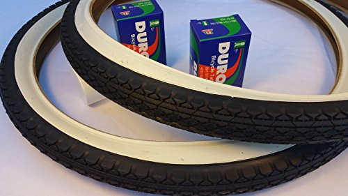 Duro Pair of Two (2) Diamond White Wall 26x2.125 Bicycle Tires with Two (2) Bicycle Inner Tubes for Beach Cruiser