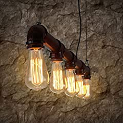 Lixada Pendant Lights Ceiling Indoor Lighting Vintage Retro Triple Lamp Hoder Bronze Metal for 5 E27 Bulbs Room Bar Decoration (Bulb Not Included) #5