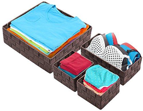 Sorbus Storage Box Woven Basket Bin Container Tote Cube Organizer Set Stackable Storage Basket Woven Strap Shelf Organizer (Woven Basket Set - 4 Piece, Beige)