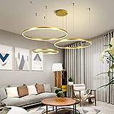 Lámpara Colgante Moderna De 3 Anillos Lámpara De Araña Regulable De 90W LED Para Sala De Estar Con Luces Colgantes De Control Remoto Dormitorio Comedor Lámpara De Altura Ajustable Luz De Techo,Oro