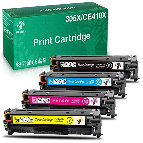 GREENSKY Cartuccia Toner Rigenerata per HP 305A 305X CE410X CE410A per HP Laserjet Pro 400 Colore M451dn M451nw M451dw MFP M475dw MFP M475dn Pro 300 MFP M375nw M351A Stampante (4-Pack)