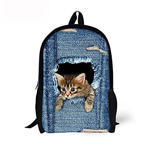 3D Animal Denim Pocket Cat / Kitten Print mochila para niños Niños Niñas Mochilas escolares Mochilas para estudiantes de primaria Mochilas para niños 44 * 28 * 13cm 3