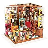 Gaoominy DecoracióN para el Hogar Estatuilla DIY Sam Sala de Estudio Kits de Modelos en Miniatura de Madera DecoracióN Casa de Mu?Ecas