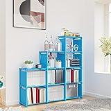 Jukert DIY Adjustable Bookcase, 9 Cube Storage Book case, Kids Bookshelf Bookshelves, Toy Organization Organizer Shelf Home Furniture Cabinet (Blue)