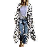 Janly Tops, Mujeres Leopardo Estampado De Gasa Kimono Largo