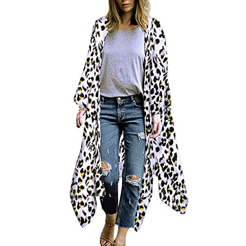 FRAUIT Damen Sommer Leopardenmuster Boho Chiffon Kimono Stil Gedruckt Tops Jacke Cardigan Blusen Beachwear Strickjacke Bluse Schal Lose Tops Outwear