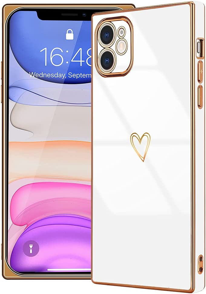 LAPOPNUT Compatible with iPhone 11 Case for Women Girls, Square Cute Love Heart Camera Protection Shockproof Electroplate Edge Soft Bumper Silicone Phone Case Cover for iPhone 11 White