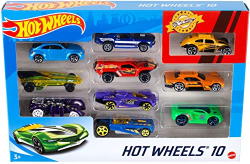 Hot Wheels 54886 1:64 Die-Cast Auto Geschenkset, je 10 Spielzeugautos, zufällige Auswahl, Spielzeug Autos ab 3 Jahren, 10er Pack