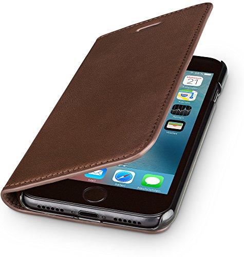WIIUKA Echt Ledertasche - TRAVEL Nature - für Apple iPhone 8 Plus & iPhone 7 Plus -DEUTSCHES Leder- Braun, mit Kartenfach, extra Dünn, Tasche, Leder Hülle kompatibel mit iPhone 8 Plus / 7 Plus