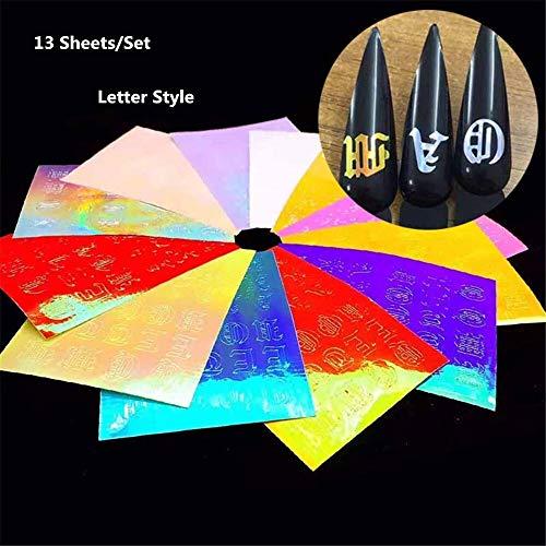 G.Y.X 6/13/16 Feuilles Flame Nail Stickers Feuille Lettre Nail Art de Moto Inspired Pleine Stencil Stickers Manucure Holographic Or Argent (Couleur : Letter Style 13Pcs)