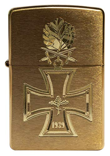 Zippo 18399 Sturmfeuerzeug Ritterkreuz 1939 mit Eichenlaub-Diamantgravur-Edles Messing gebürstet-Brass Brushed-Limited Edition weltweit nur 1000 Stück, Chrome