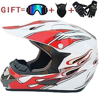 LHY 4PCS Motorcycle Helmet MTB Helmet Set Men Motocross Full Face Helmet with Goggles Gloves Mask Helmet Net Women Motorbike Off Road Helmet Hard Hat ATV Helmet