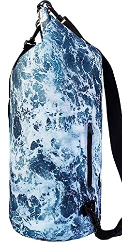 SNAILMAN Waterproof Dry Bag for Women Men, 20L Roll Top Lightweight Dry Storage Bag Backpack with Phone Zipper Pocket, Swimming, Boating, Kayaking, Camping and Beach (Wave, 20L)