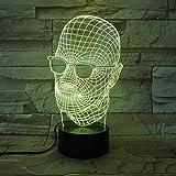 BDFS Kühle Vatertagsgeschenk 3D Lampe Neuheit Männer Mit Schwarzen Gläsern LED Licht Schreibtisch...