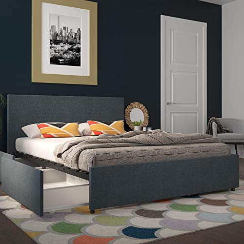 Novogratz Kelly Upholstered Storage Dark Blue Linen Queen Bed Navy