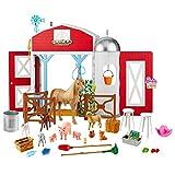 Barbie coffret la ferme aux animaux avec étable, 11 figurines animaux, éléments de jeu et 15 accessoires inclus, jouet pour enfant, GJB66
